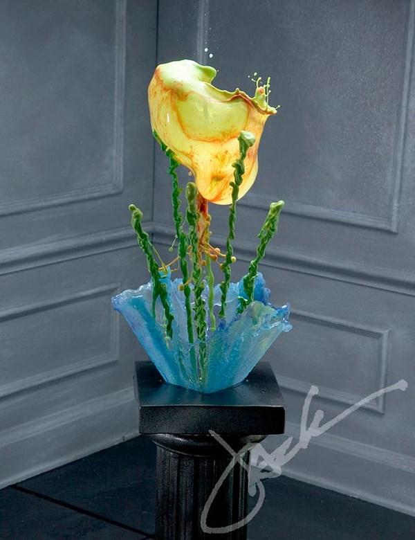 esculturas con liquidos de colores por jack long